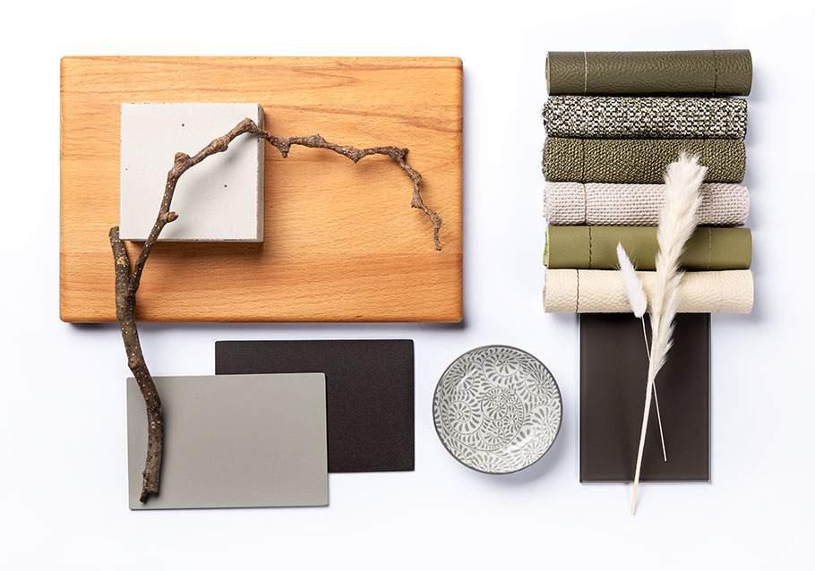 Wimmer Wohnkollektionen: Einrichten mit Buchenholz und grün-beige.