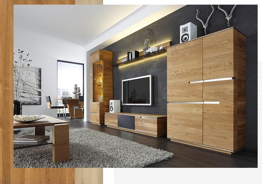 Wohnwand aus unserer Kollektion ACERRO, rustikale Ast-Eiche