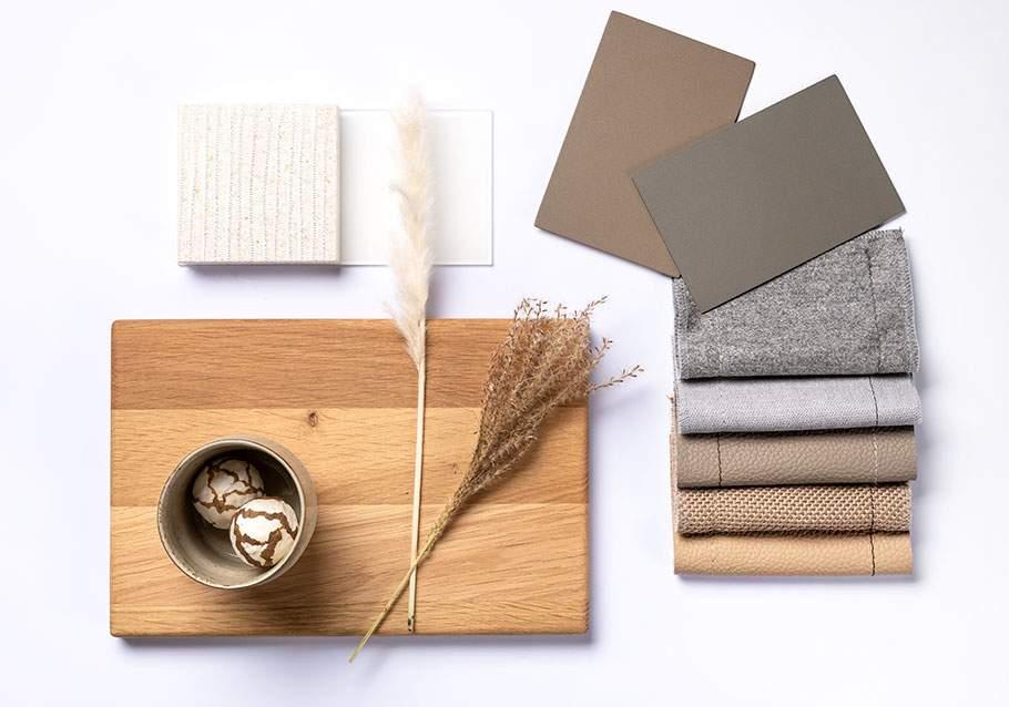 Wimmer Wohnkollektionen: Farbfamilie Grau- und Beigetöne  mit Eiche
