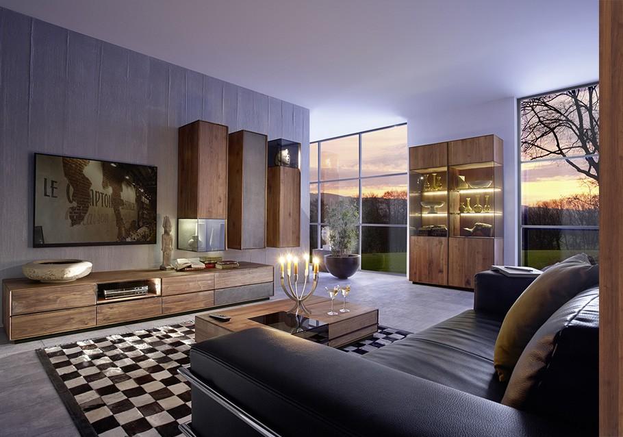 Wohnzimmer aus unserer Kollektion TERSO, rustikaler Nussbaum
