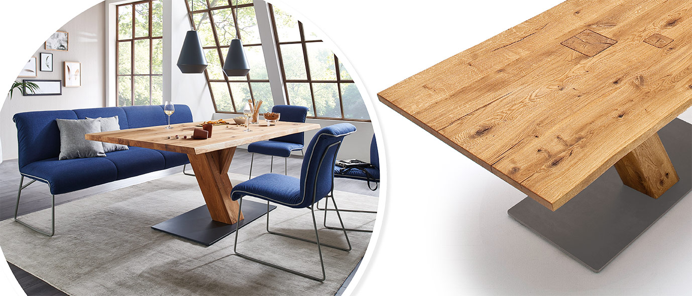 Möbel Trends 2020: Tisch Z30 aus der Kollektion ZWEIGL, rustikale Ast-Eiche