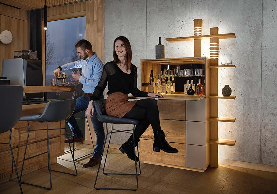 Wimmer Wohnkollektionen: Einrichtungstrends 2019 - Individual living - Barschrank Kollektion SIGNATURA