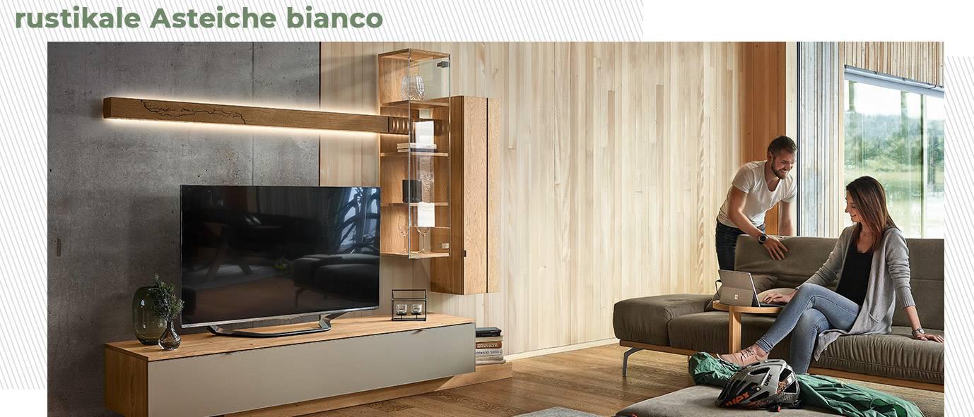 Wimmer Wohnkollektionen: Wohnzimmer aus rustikaler Ast-Eiche bianco aus unserer Kollektion SIGNATURA