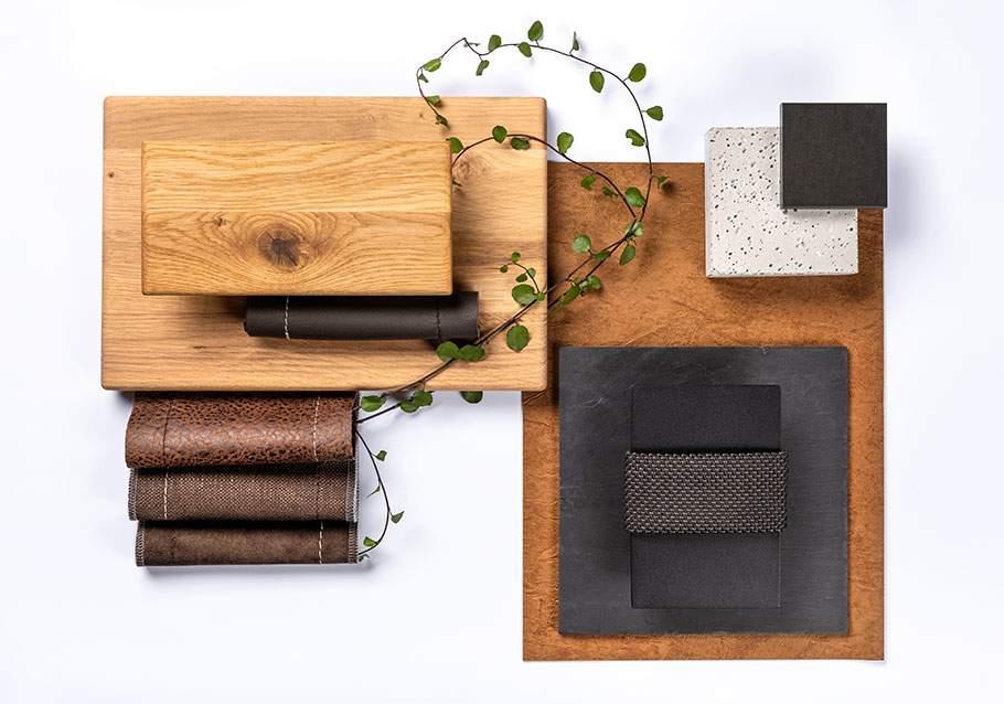 Wimmer Wohnkollektionen: Farbfamilie Braun- und Anthrazittöne mit Eiche