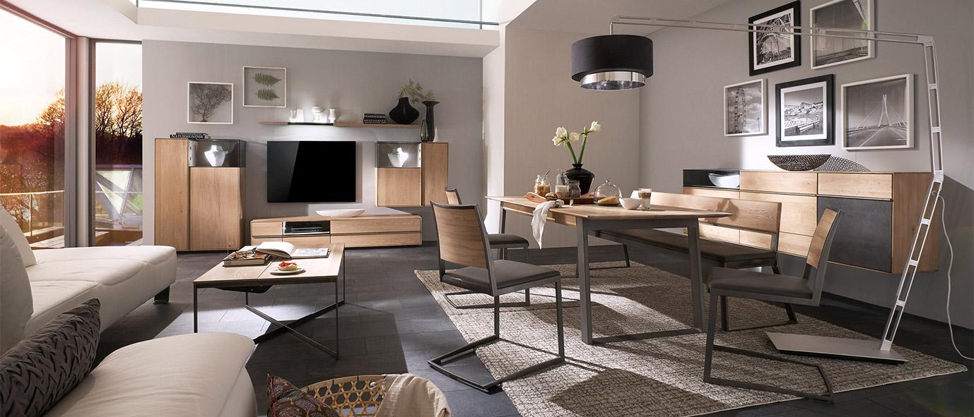 Bei offenen Wohnkonzepten können Sie einzelne Bereiche voneinander abgrenzen - Kollektion Terso.