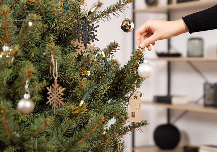 Wimmer Wohnkollektionen: Weihnachtsbaum im Topf schmücken.