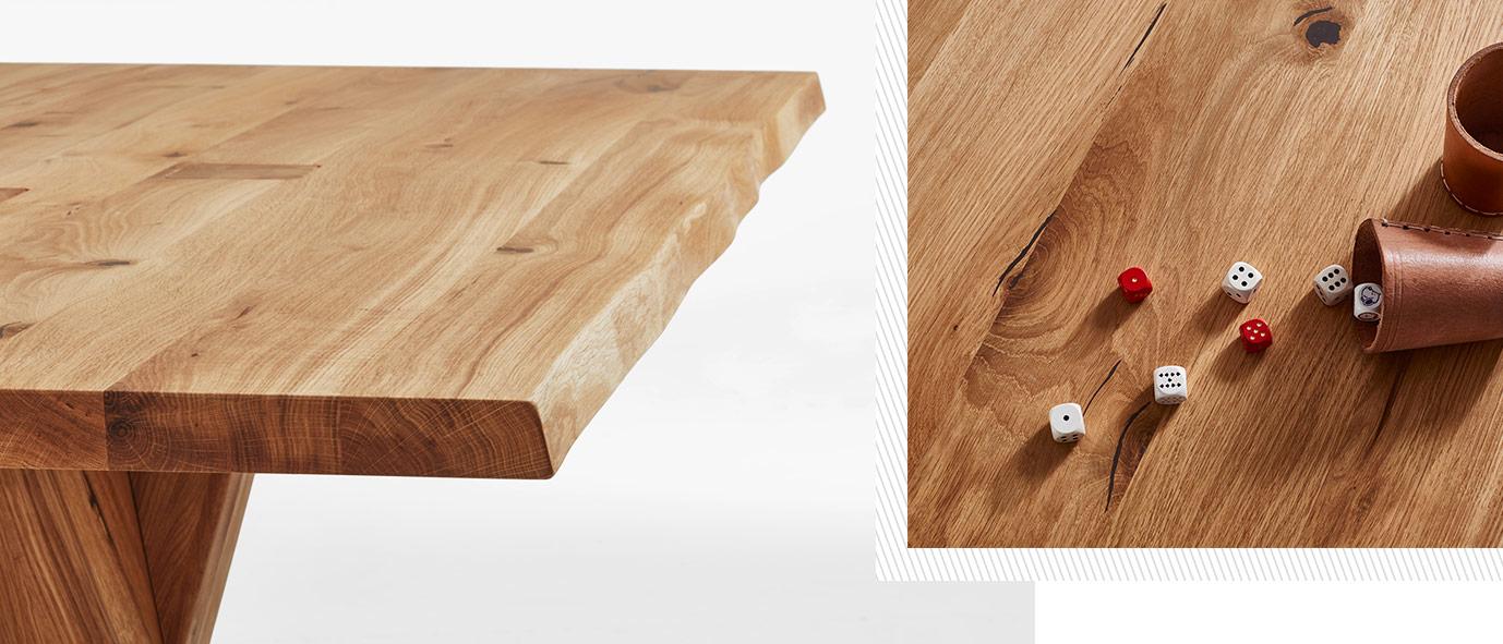 Wimmer Wohnkollektionen - Holztisch mit natuerlicher Baumkante,  Eiche