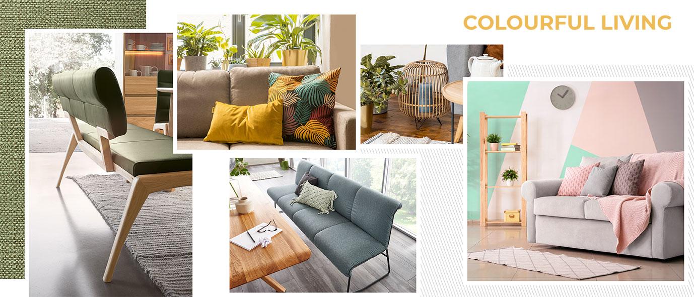 Wimmer Wohnkollektionen: Einrichtungstrends 2019 - Colourful living- Ideen