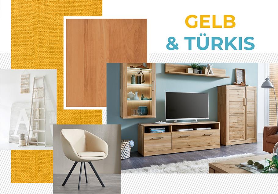 Unser Tipp: Gelb & Türkis zu hellem Holz, z. B. als Wandfarbe