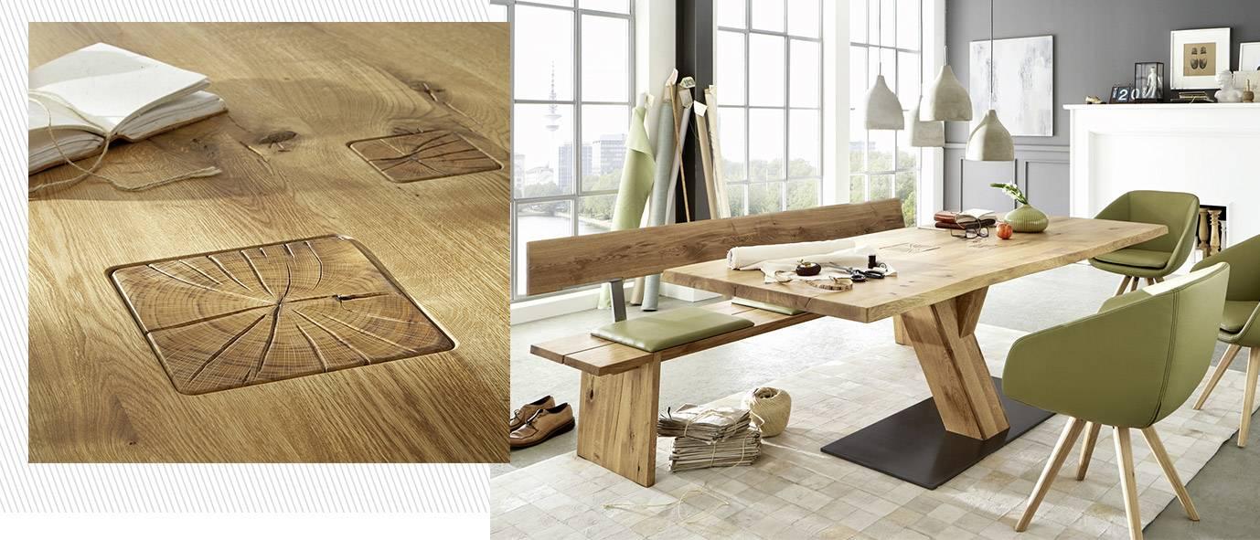 Wimmer Wohnkollektionen - Holztisch ZWEIGL Z30, rustikale Ast-Eiche