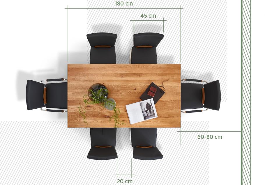 Grafik: So viel Platz benötigen Ihre Gäste am Esstisch.