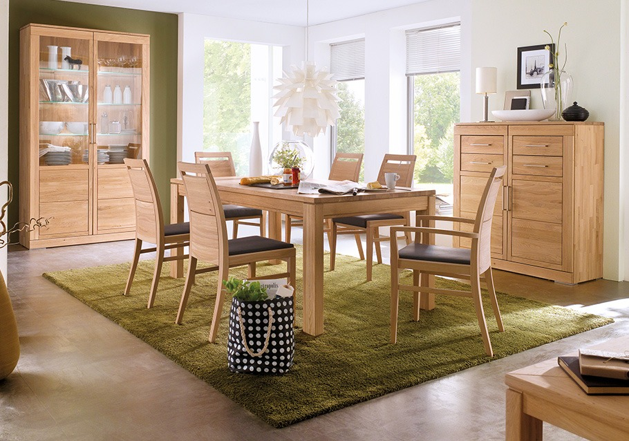 Esszimmermöbel der Kollektion CASERA, rustikale Ast-Eiche bianco